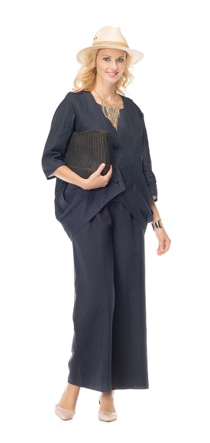 Stunning 3 piece pant suit by Night Studio Linen in linen fabric. Vest, top & pants. Great church suit, work suit, casual suit. Available in missy and plus sizes. #fitritefashions #pantsuit #linen #summerfashion