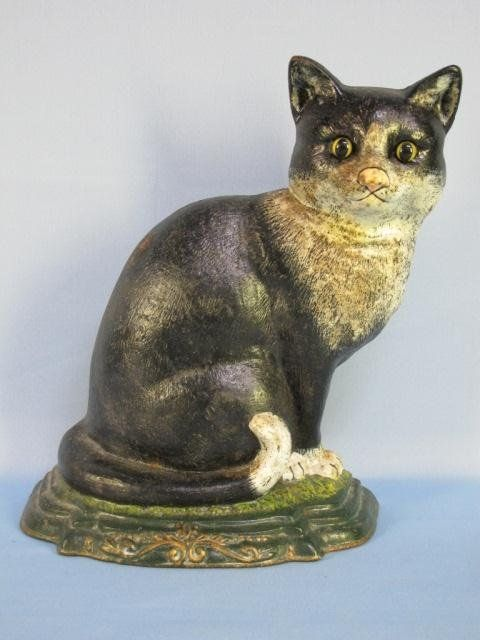 21: Vintage Cast Iron Cat Door Stop : Lot 21