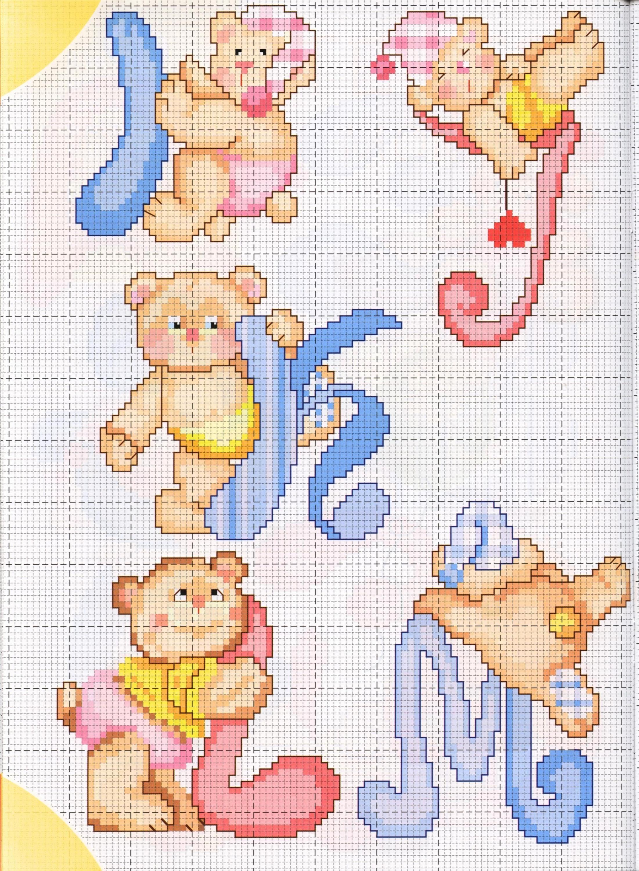 Alfabeto teneri orsetti 2 punto croce for Ricamo punto croce lettere