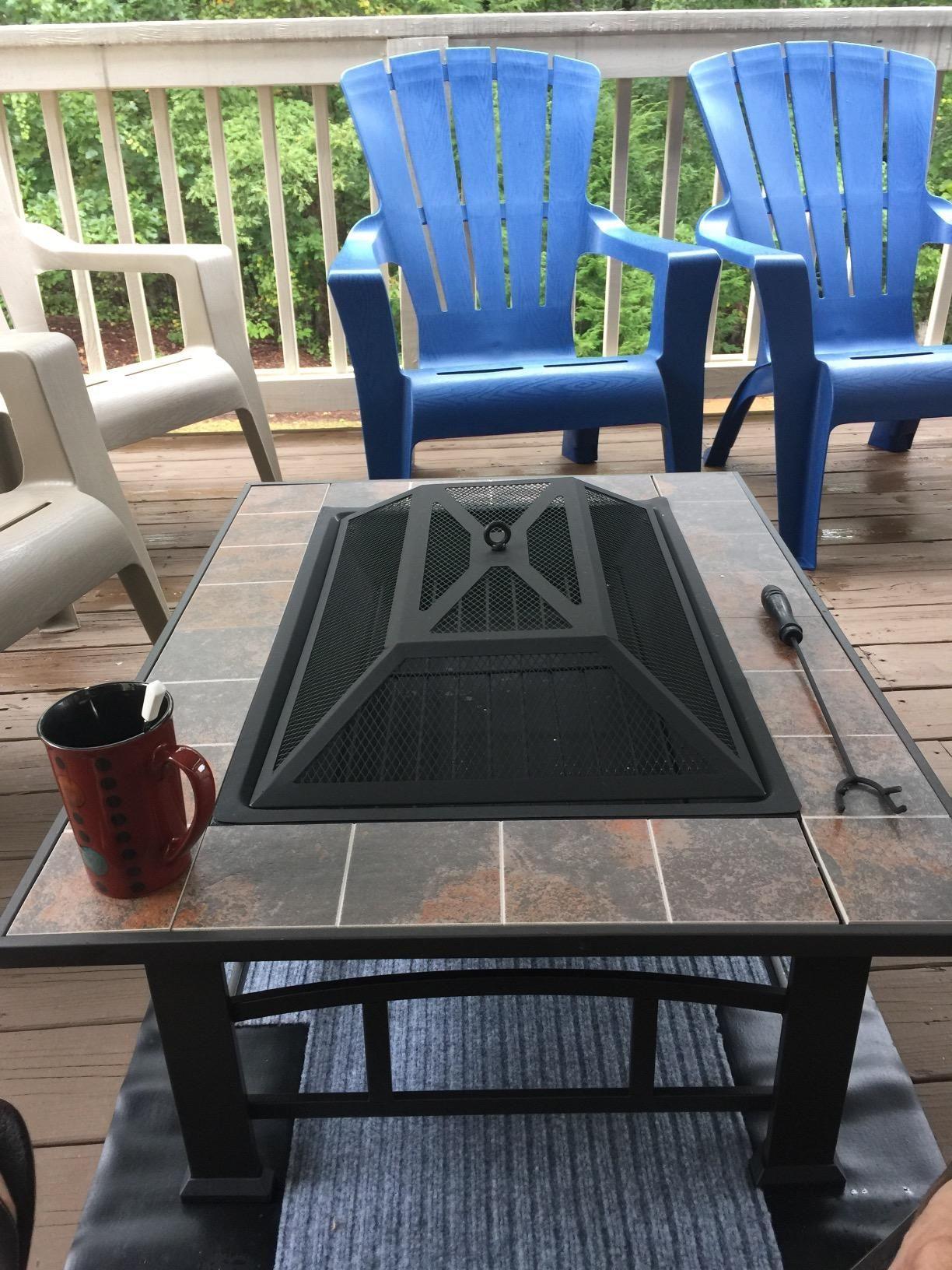 Amazon.com : Axxonn Outdoor Rectangular Ceramic Tile Top Fire Pit, Brownish Bronze : Patio, Lawn & Garden