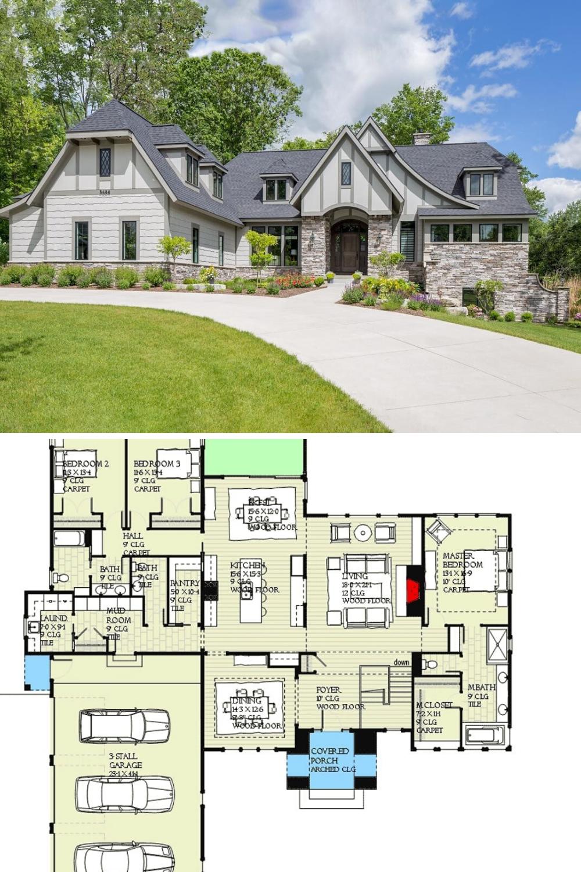 Single Story 5 Bedroom Tudor Home With Finished Lower Level Floor Plan Tudor House Floor Plans Mansion Floor Plan