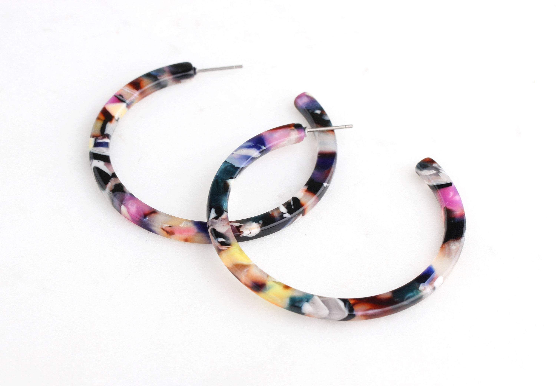 Colorful Post Earring Hoops, 1 pair, Multicolor Tortoise Shell Earring, Acrylic Hoops, Big Re…