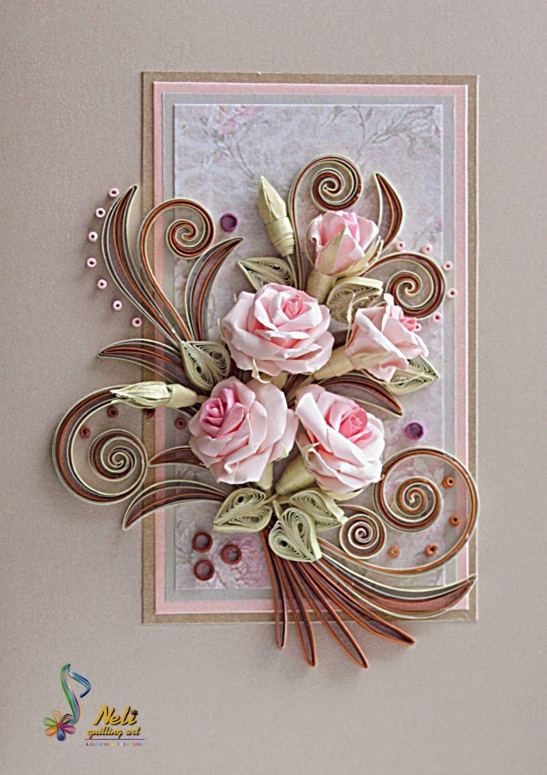 Открытки по квиллингу с розами