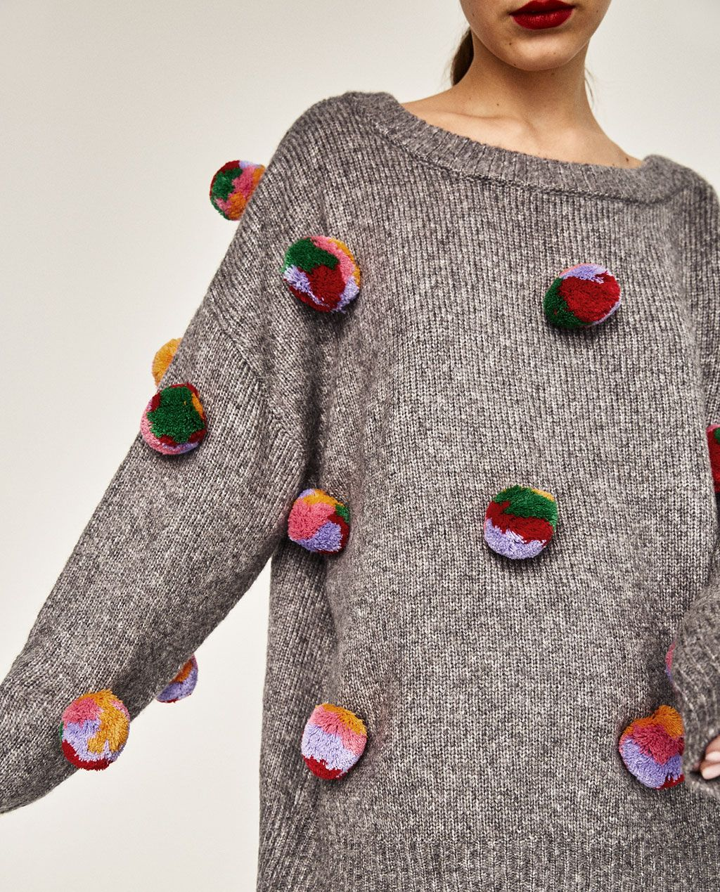 0f0bfeffcb5 OVERSIZED POMPOMS SWEATER-Sweaters-KNITWEAR-WOMAN