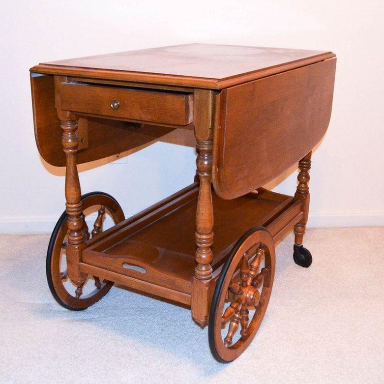 Vintaqe Drop Leaf Serving Cart By Kling Colonial Furniture Colonial Furniture Furniture Serving Cart