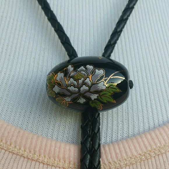 Floral Multicolored Heart Western Bolo Tie