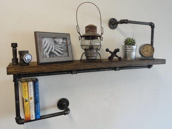 tag re industrielle tuyau noir le cintre pais par mobeedesigns plomberie rustique. Black Bedroom Furniture Sets. Home Design Ideas