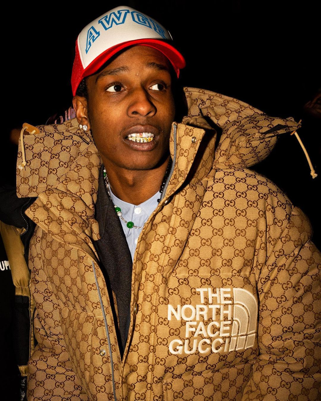 Gucci Official On Instagram A Ap Rocky Asaprocky Spotted In New York City Wearing A Down Bomber Jacket With Allover Gg Motif From The Thenorthfacexgucci I 2021 [ 1350 x 1080 Pixel ]