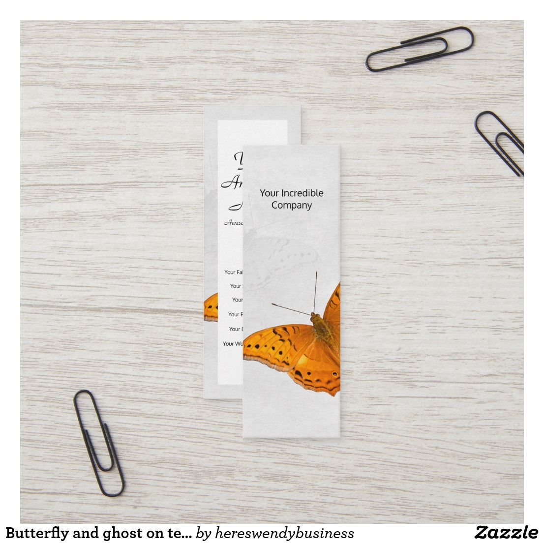 Butterfly and ghost on textured white mini business card