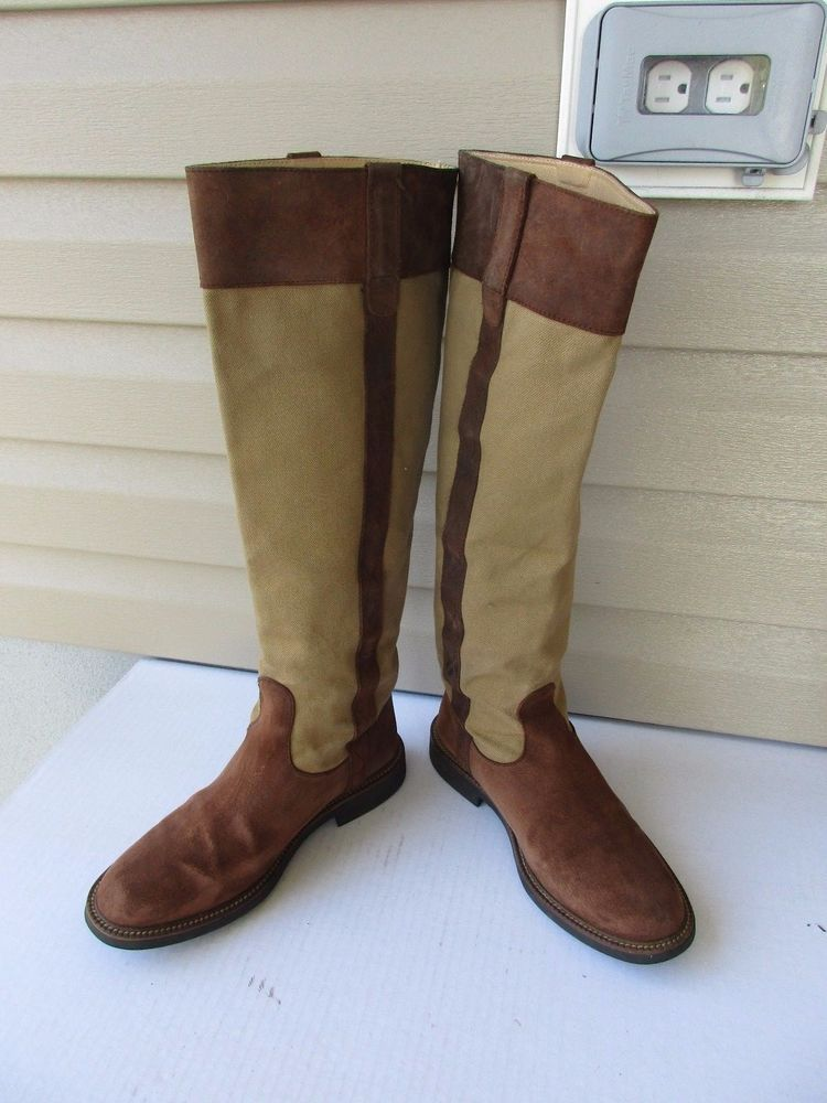 cer boots size 39 9 brown canvas leather knee high