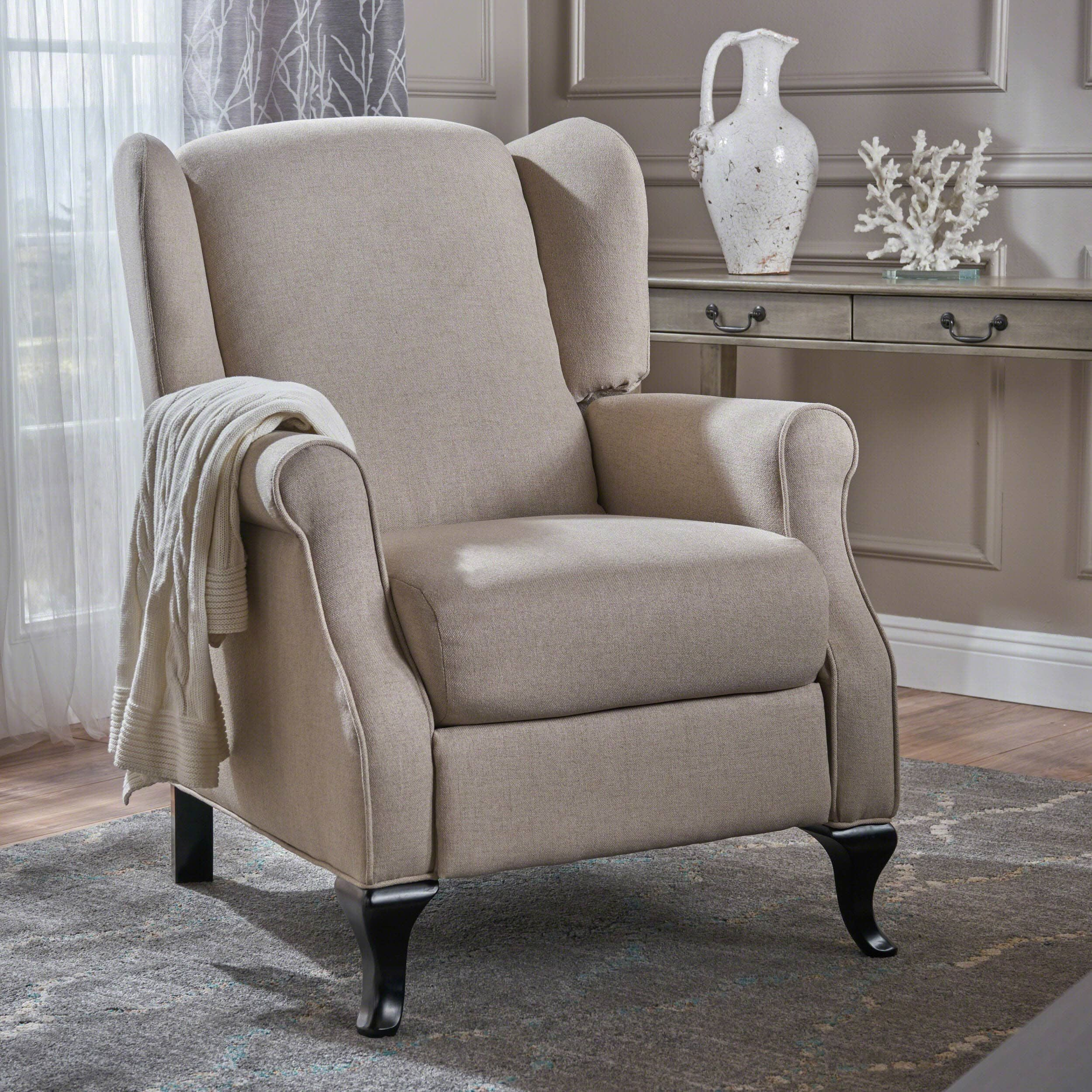 Deirdre Traditional Winged Fabric Recliner Club Chair By Christopher