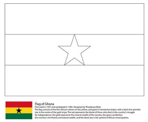 Ghana Flag Coloring page Countries Pinterest Ghana flag Ghana