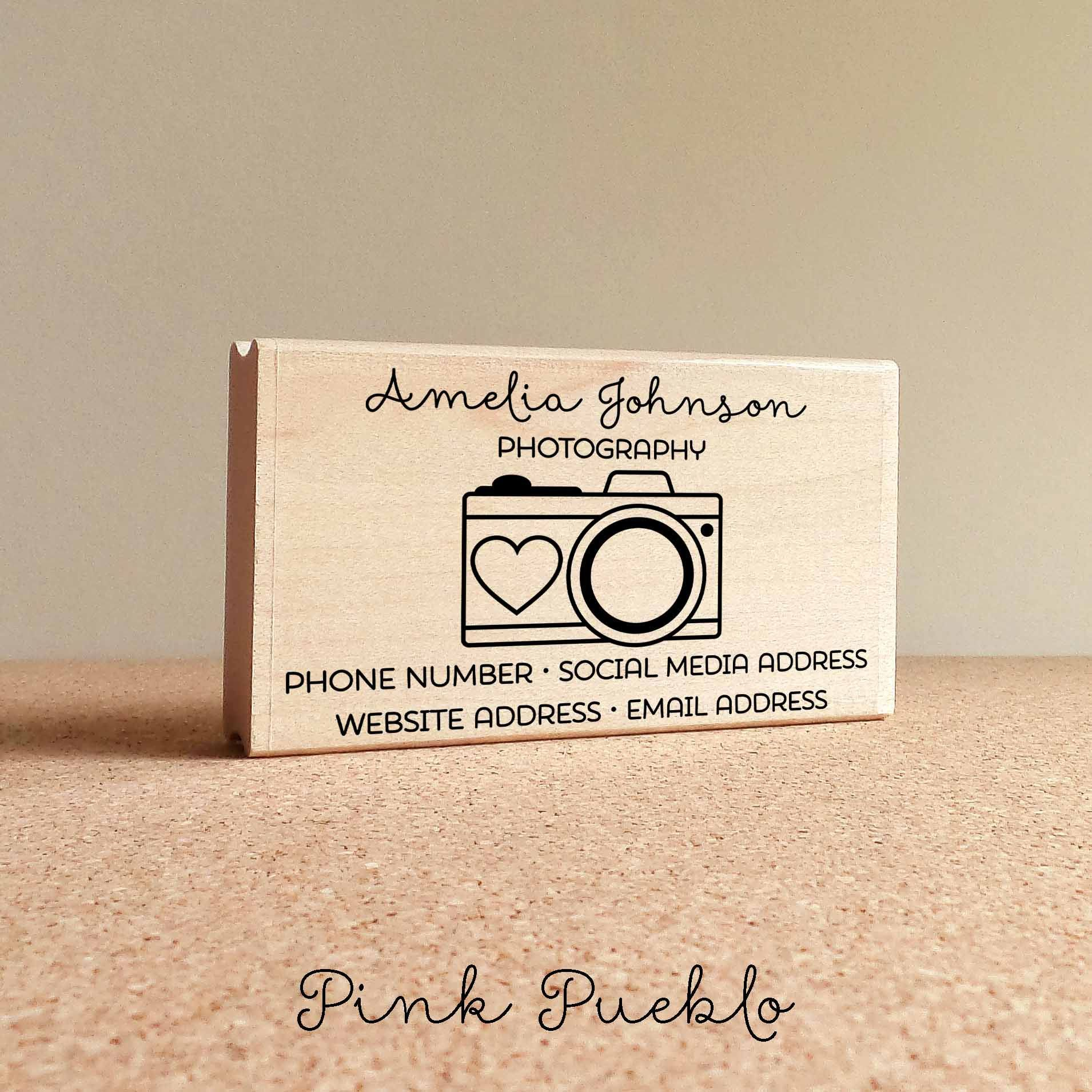 Personalized photography business card stamp camera business card pink pueblos photography business card stamp is a great way to create your own business cards or label gifts crafts and mail the stamp art is original colourmoves