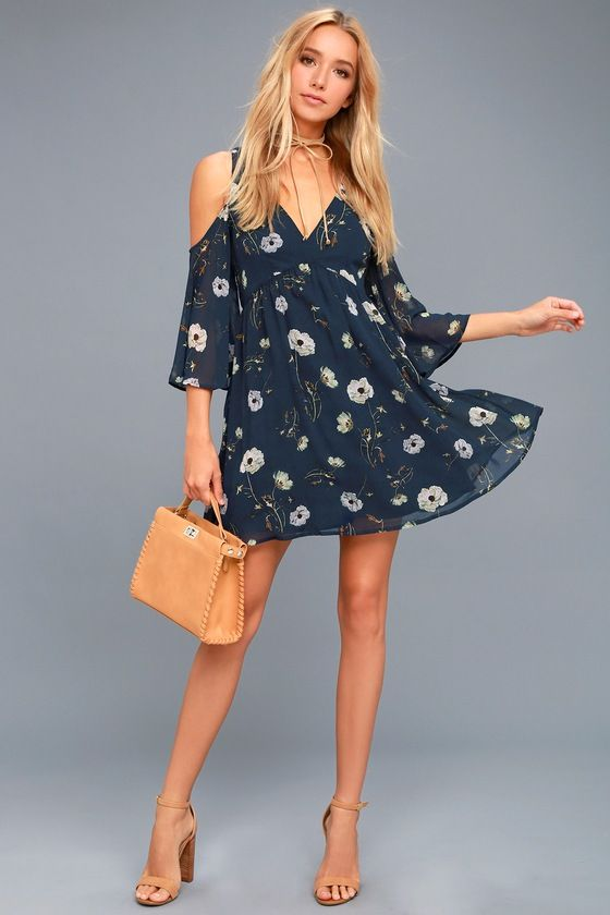 26a45fe0fd5a BB Dakota Rylie Navy Blue Floral Print Off-the-Shoulder Dress 2