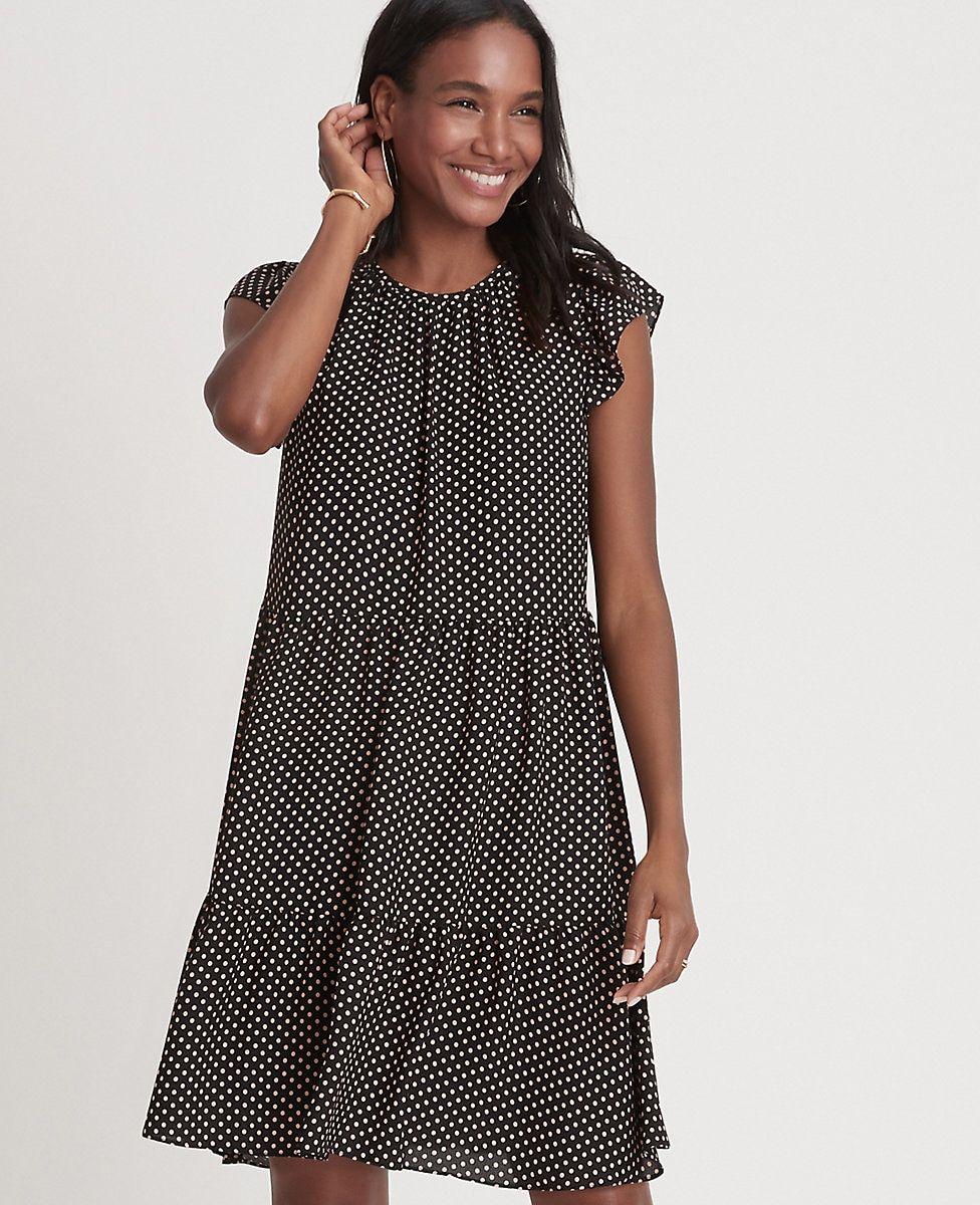 Dot Ruffle Sleeve Shift Dress Ann Taylor Shift Dress Short Sleeve Dresses Dresses [ 1200 x 976 Pixel ]