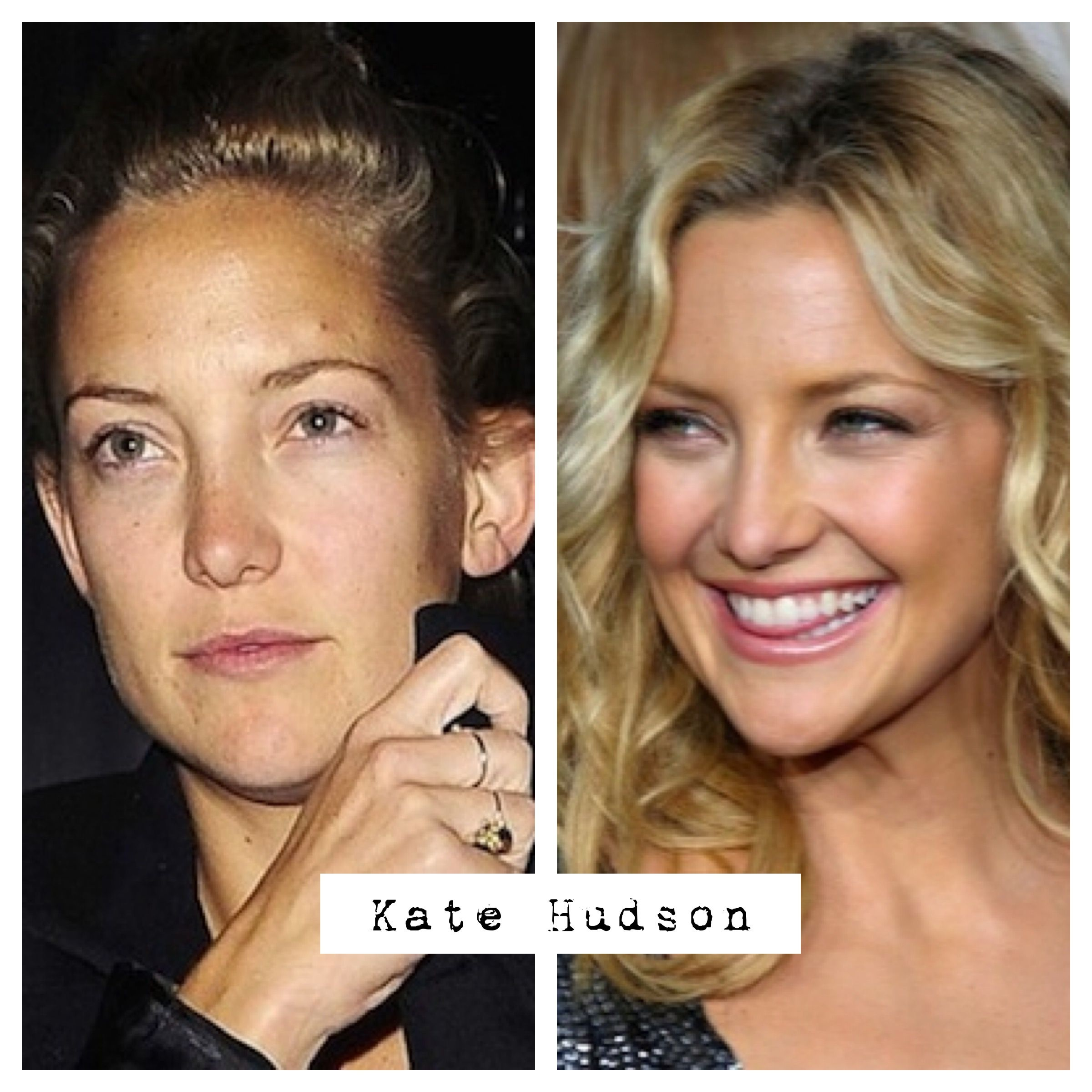 """Kate Hudson without makeup before and after. Love Love Love this woman! She is totally hot without adhering to the social norms of """"the perfect hourglass figure and huge pout"""". And she hasn't gone under the knife. Because she doesn't need to. She's still a striking and beautiful woman! But it is nice to see that she's only human too..."""