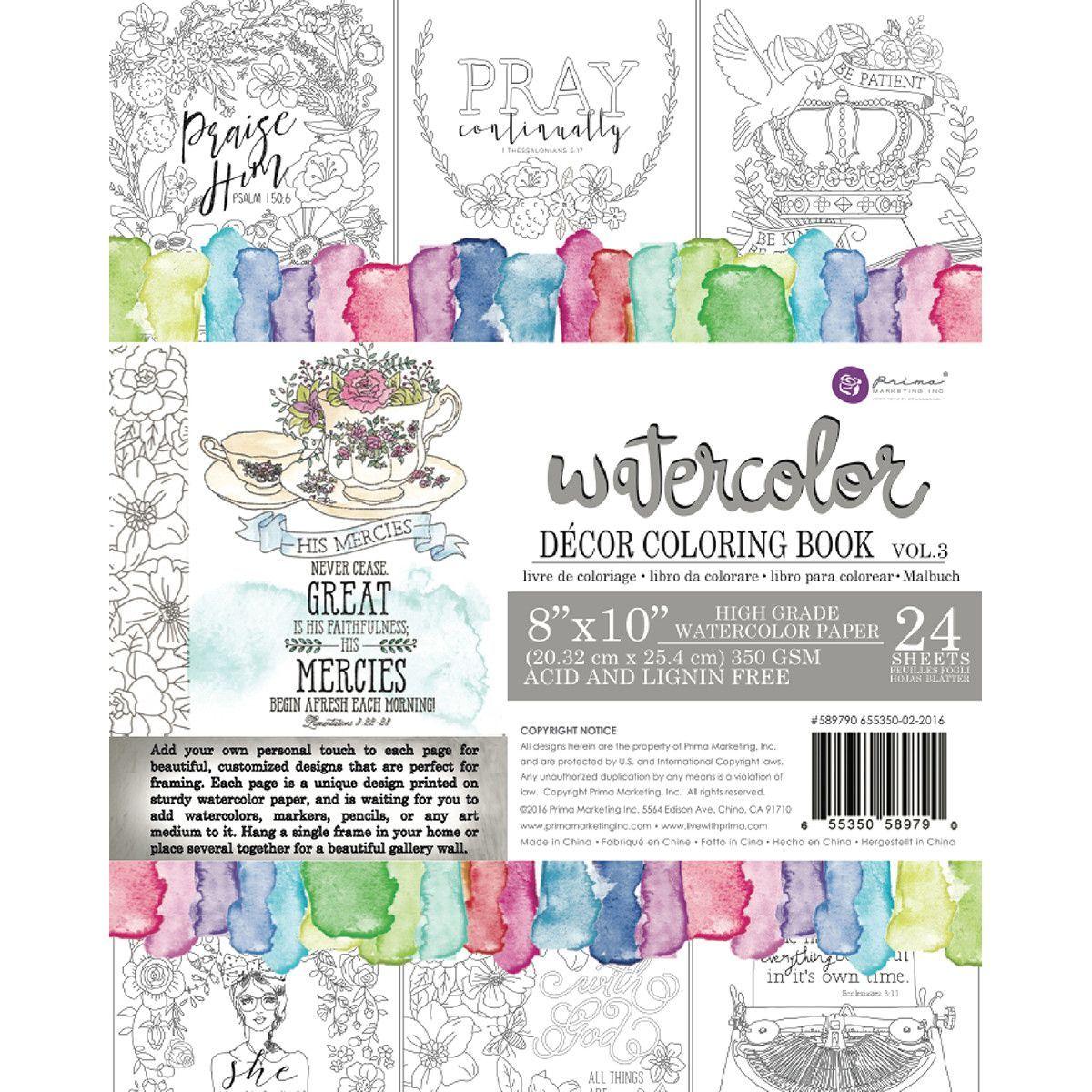 Watercolor paper coloring book - Prima Marketing Coloring Book Vol 3 Watercolor Decor Faith