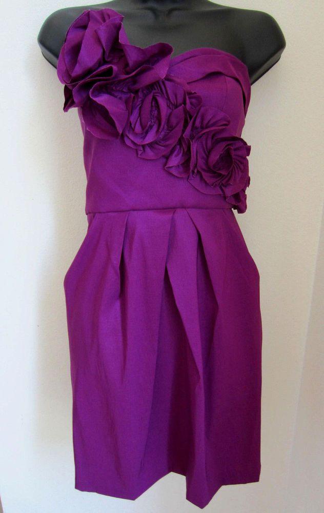 Max Cleo Dress 6 Strapless Pockets Rose Wine Lola Cocktail NEW ...
