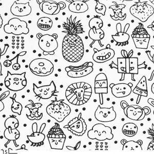 dessin kawaii tissu coton