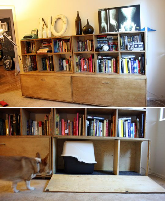 Look Diy Litter Boxes Hidden Inside Bookcase With Images Diy