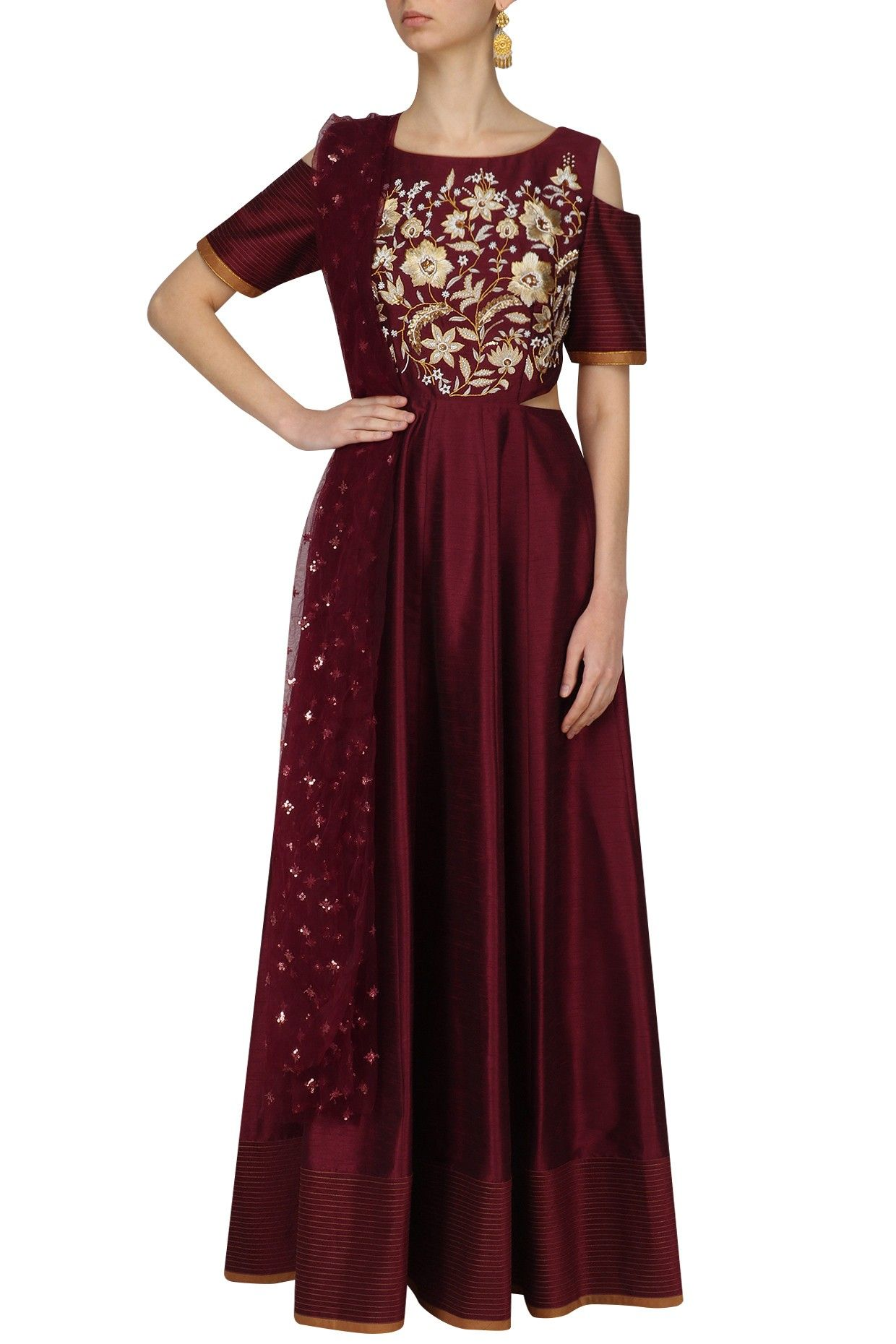 8bc495411c8 Maroon cold shoulder anarkali gown and dupatta set available only at  Pernia s Pop Up Shop.  happyshopping  shopnow  ppus