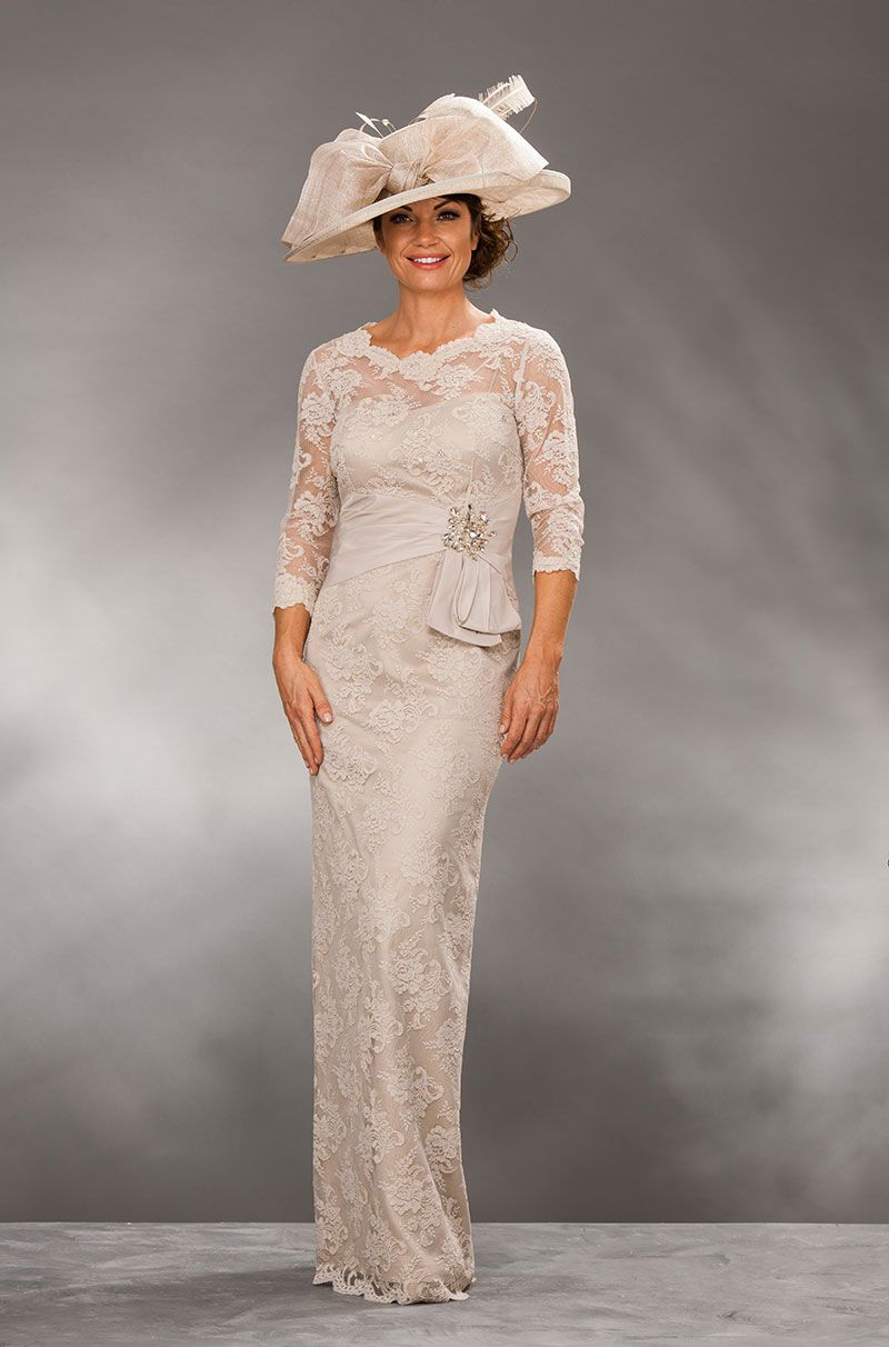 Long Lace Dress With Satin Belt And Elbow Length Sleeves