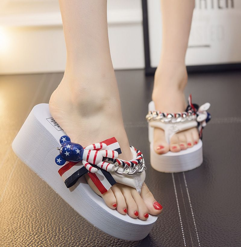ece11683243 Thick Bottom Violence Bear Slippers for Women Fashion Ladies Platform Flip  Flops Female Summer Wedges Flip