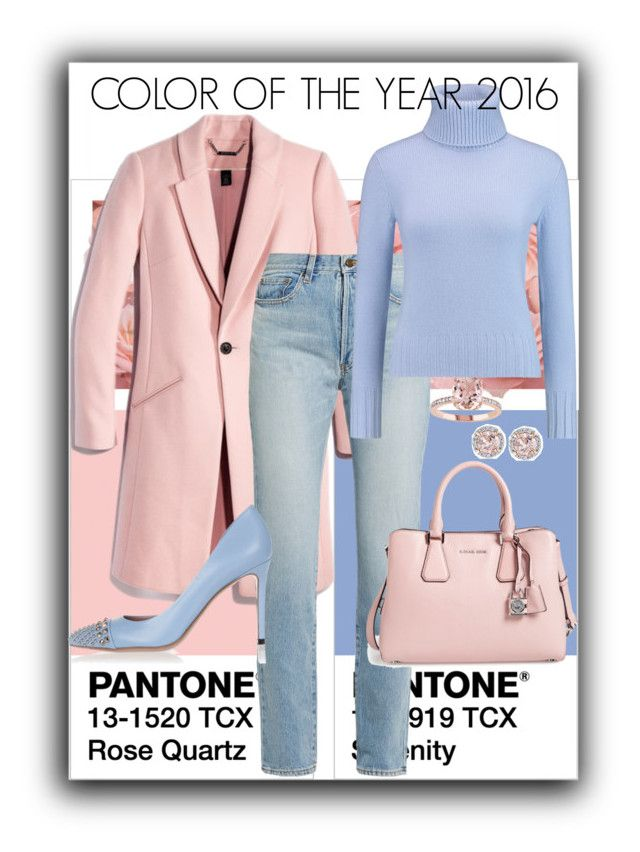 """""""Color of the year 2016💕💎"""" by soniamariaquiroz on Polyvore featuring moda, Yves Saint Laurent, N.Peal, Gucci, Allurez, Color, Pink, Blue, pantone y 2016"""