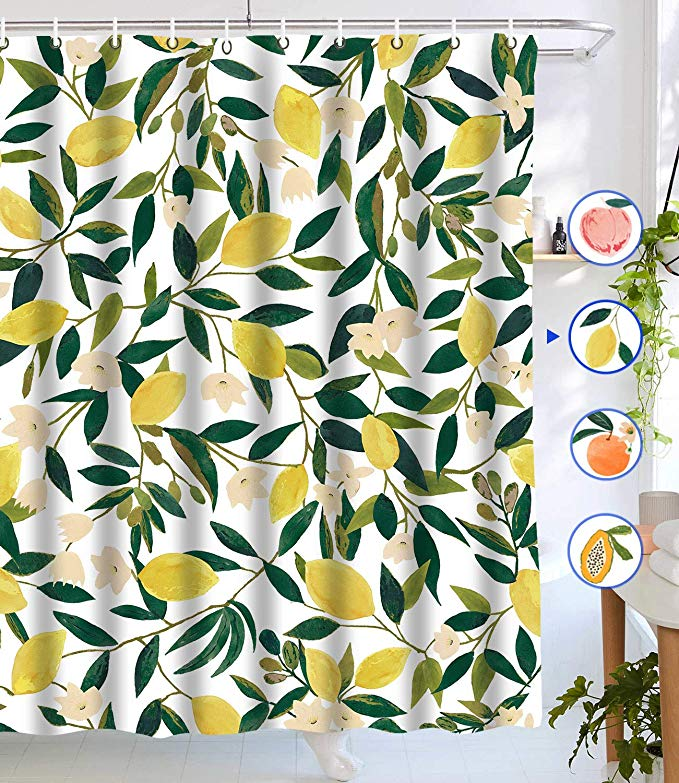 Amazon Com Lifeel Lemon Shower Curtains Allover Fruits Shower Curtain Green Leaves Plan In 2020 Peach Shower Curtain Bathroom Shower Curtain Sets Shower Curtain Sets
