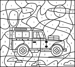 Jeep - Printable Color by Number Page - Hard | color by number ...