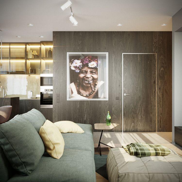 Zimmertür Walnuss Wandgestaltung Optik Wohnzimmer grünes Sofa - grose fenster wohnzimmer