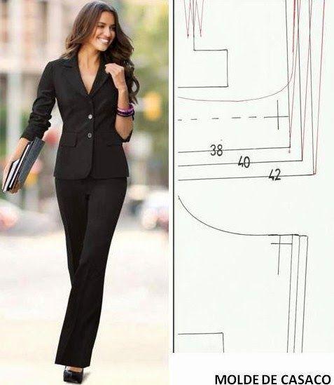 molde de casaco clássico feminino grátis para imprimir | Creación de ...