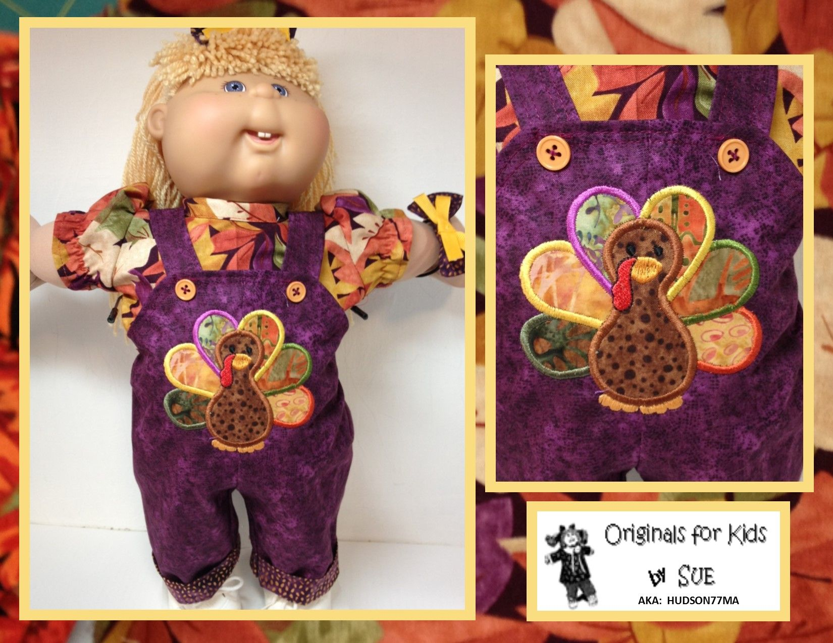Cabbage Patch Kids Girl Overall Thanksgiving Turkey Applique and