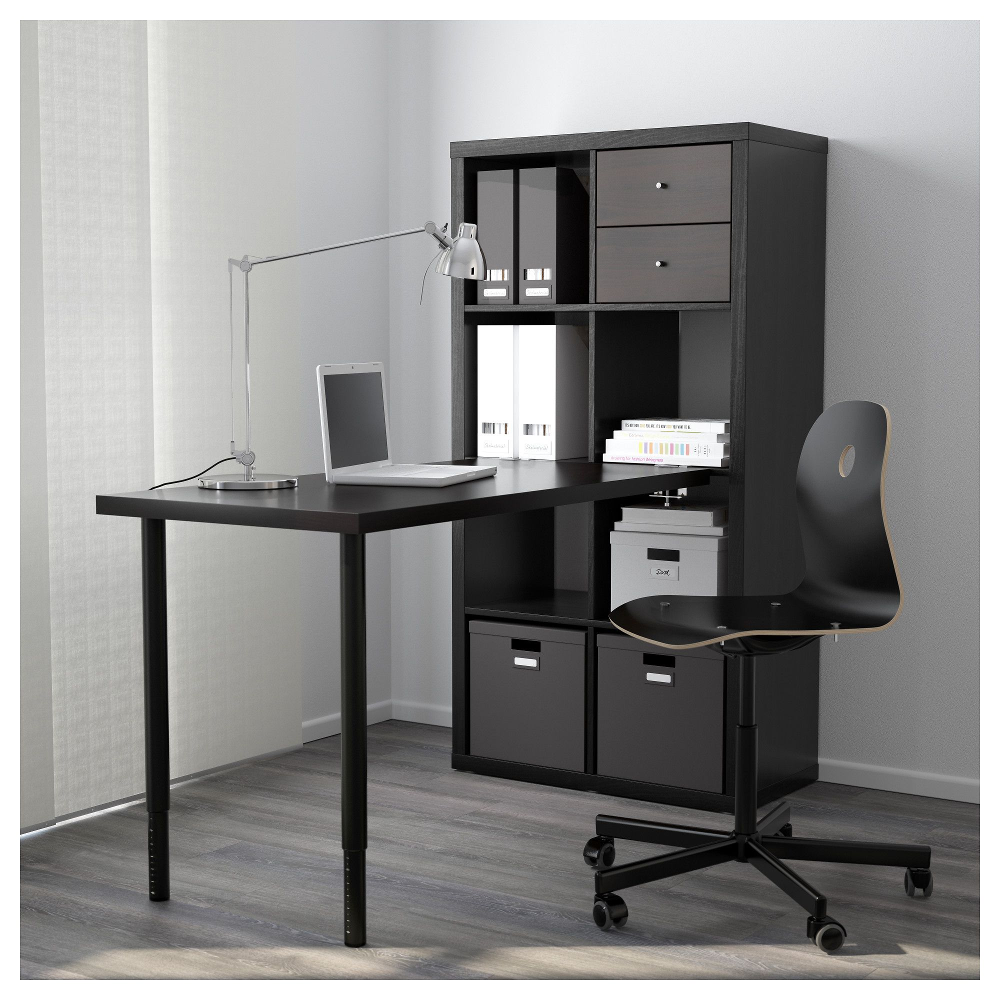 KALLAX Workstation, black-brown