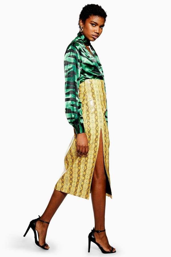 7f0ee9ebe Topshop Snake PU Midi Skirt in 2019 | Products | Midi Skirt, Skirts ...