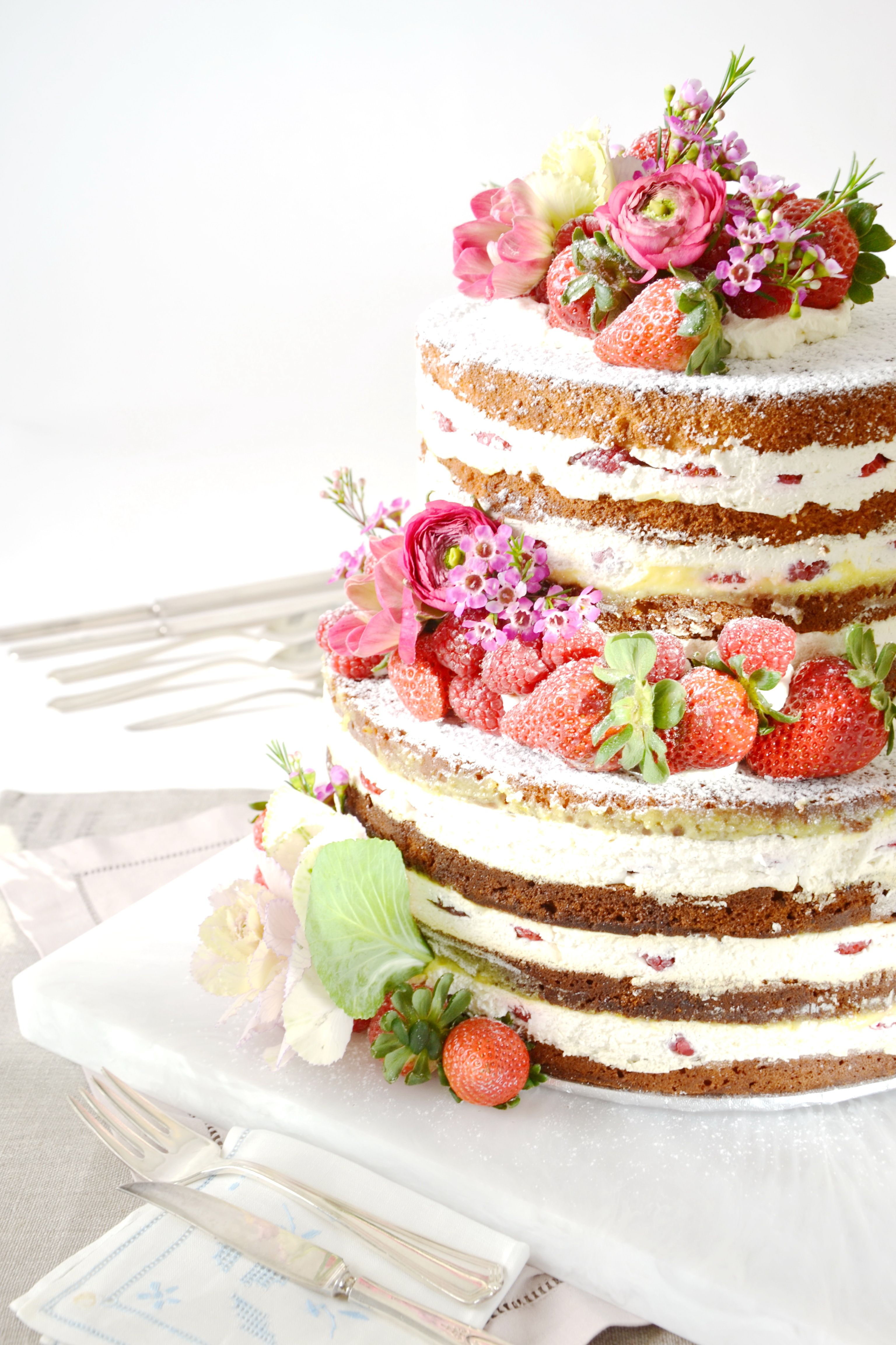 """""""Naked"""" Wedding Cake #culinarycapers #catering #weddingcake http://www.culinarycapers.com/ Photo: Chef Margaret Chisholm"""