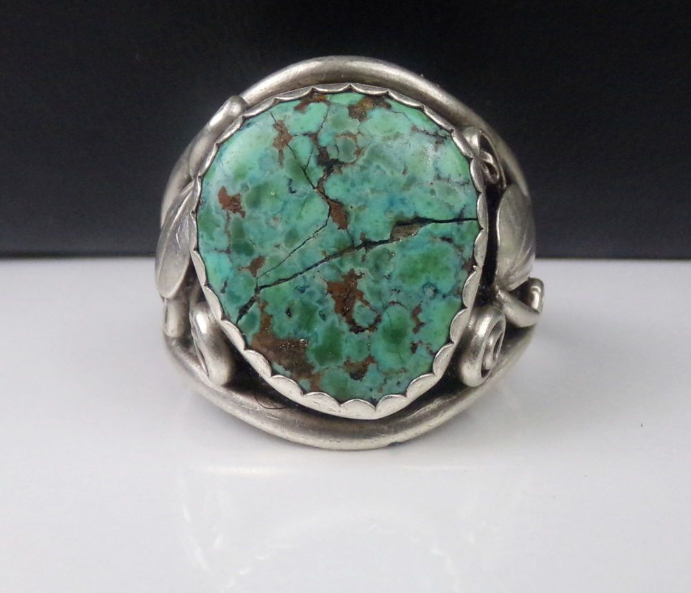 Old Navajo Sterling Silver Turquoise Ring Alec Dennis