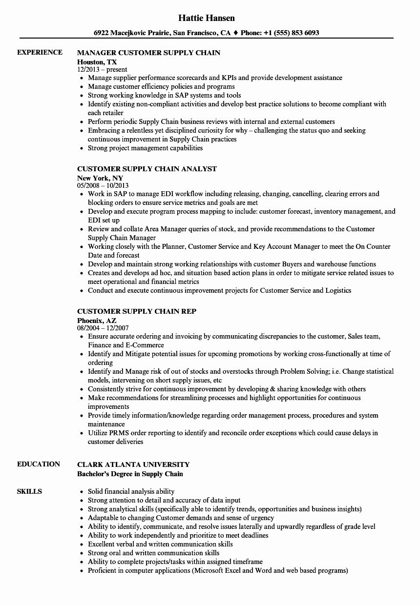 Supply Chain Resume Examples Inspirational Customer Supply
