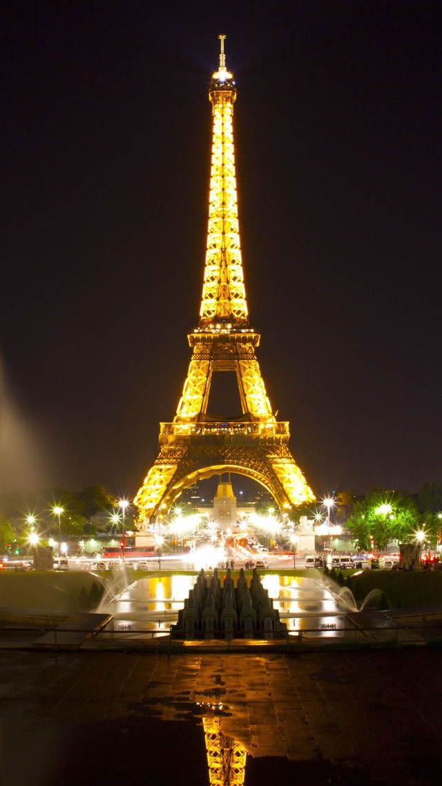 Eiffel Tower Paris Night iPhone 5s Wallpaper Download