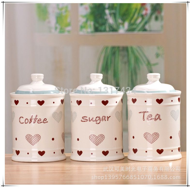 Red Heart Ceramic Canister Mason Jars Three Piece Set Kitchen