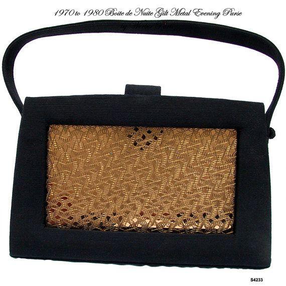 Werber Paris Black Evening CarryAll Boite De Nuit Vintage Minauderie Necessaire