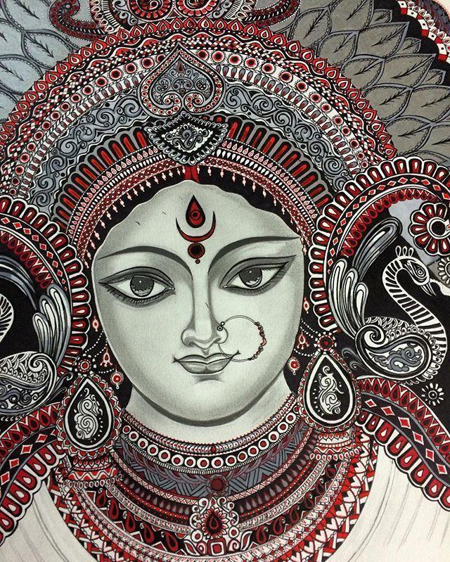 Pin by SAIKUMAR on Kolhapur Durga painting, Indian art