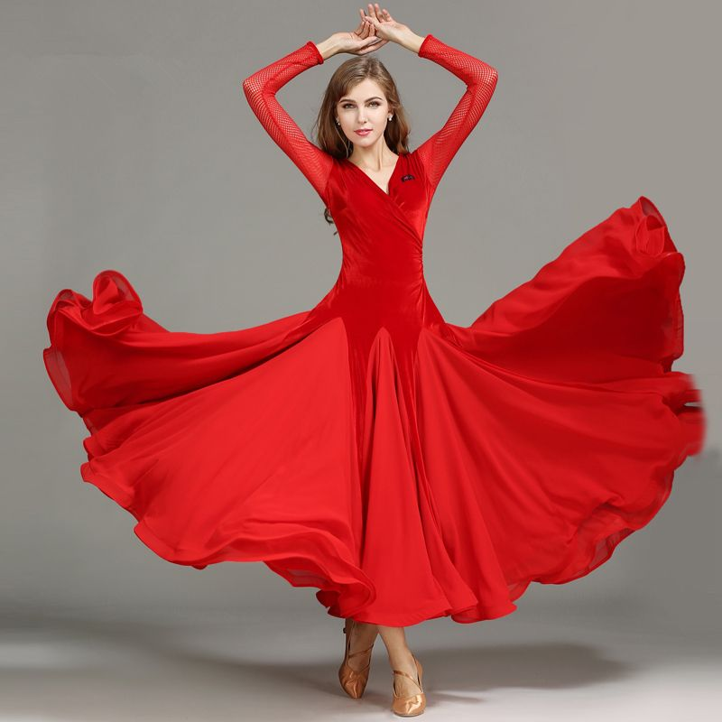 af48ddb87 Find More Ballroom Information about New Fashion Velvet Splicing Long Dress  Women Standard Ballroom/Tango