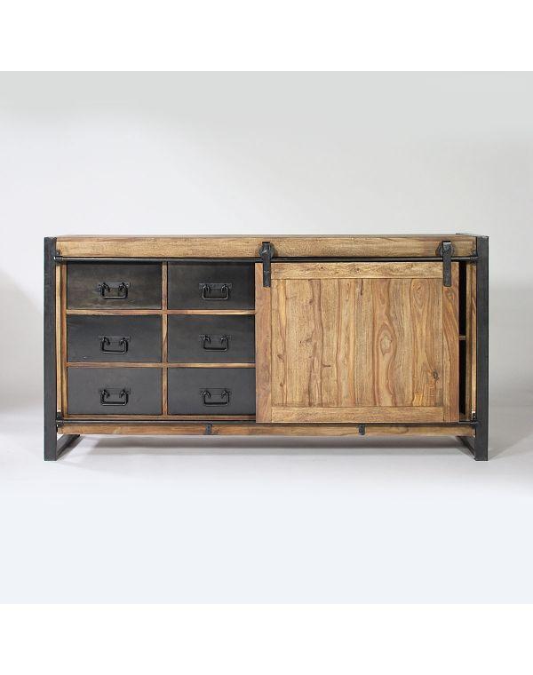 Buffet industriel porte coulissante bois naturel, 6 tiroirs métal - creer une porte coulissante