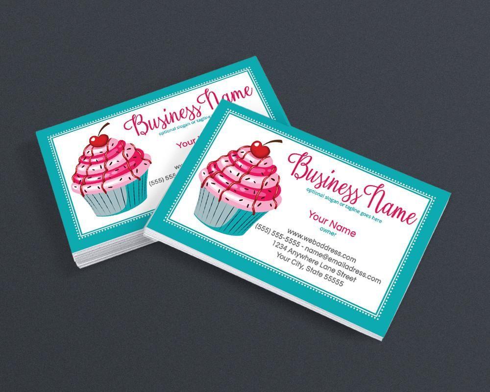 Bakery Business Card Design - Cupcake Business Card Design - Cupcake ...