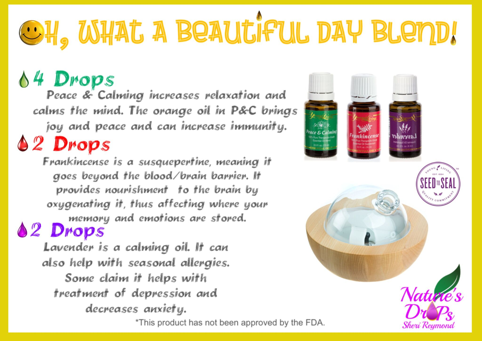 Relaxing and comforting blend to diffuse. https://www.facebook.com/NATURESDROPS