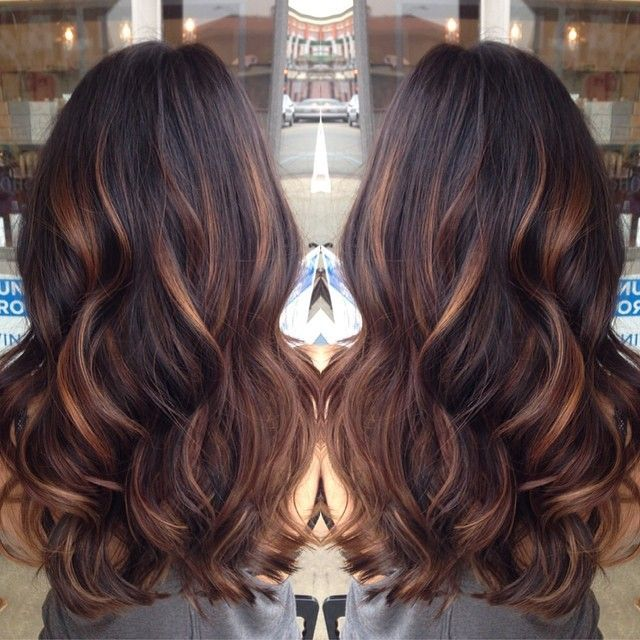Golden Caramel Balayage D Lights On Her Dark Brown Hair With