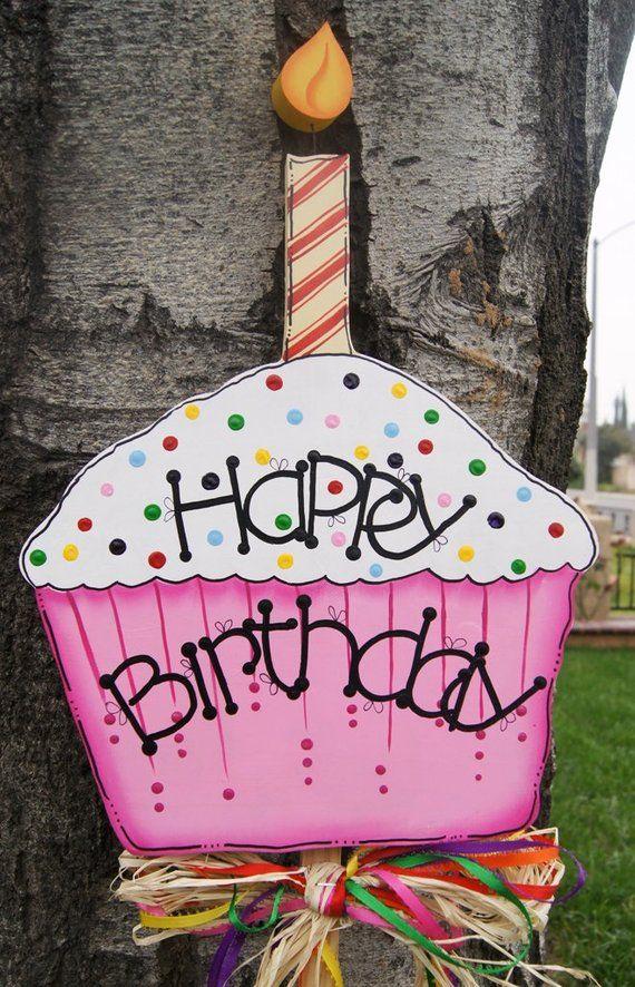Happy Birthday Cupcake Yard Stake Boy Or Girl Birthday Wood Outdoor Sign Happy Birthday Posters Happy Birthday Cupcakes Happy Birthday Signs
