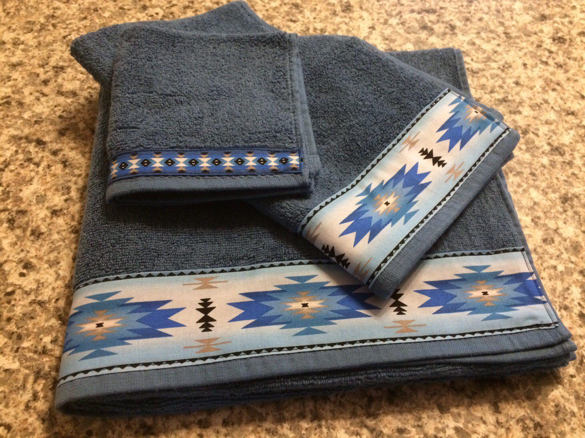 Western Towels Blue Bath Western Bathroom Western Housewarming