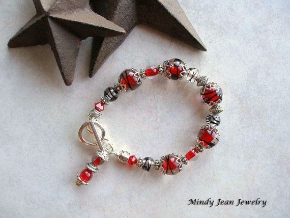 Lampwork Glass Bracelet with Toggle Clasp  IT'S A PARTY  www.mindyjeanjewelry.etsy.com